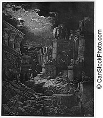 The Fall of Babylon - Picture from The Holy Scriptures, Old...