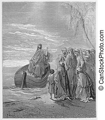 Jesus at the Sea of Galilee - Jesus Preaching at the Sea of...