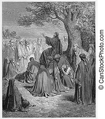 Jesus preaches to the people - Picture from The Holy...