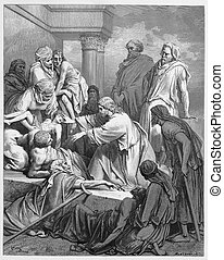 Jesus healing in Gennesaret - Jesus healing in the land of...