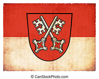 Grunge flag of Regensburg (Bavaria, Germany) - Flag of the...