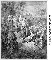 Jesus heals an epileptic - Picture from The Holy Scriptures,...
