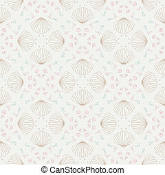 Vector seamless sea pattern with shells - Vector seamless...