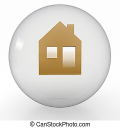 icon of house is in glass ball