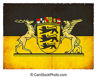 Grunge flag of Baden-Wuerttemberg (Germany) - Flag of the...