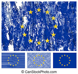 European union grunge flag set
