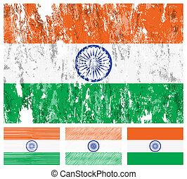 India grunge flag set