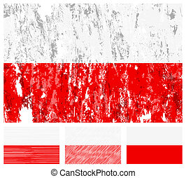 Poland grunge flag set