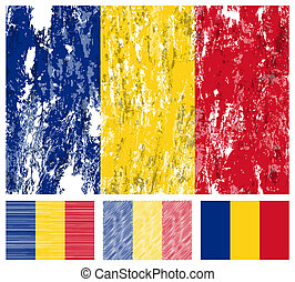 Romania grunge flag set