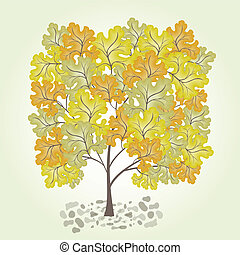 Tree with yellow leafage. Vector.
