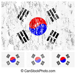 South Korea grunge flag set