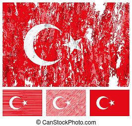 Turkey grunge flag set