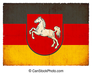 Grunge flag of Lower Saxony (Germany) - Flag of the German...