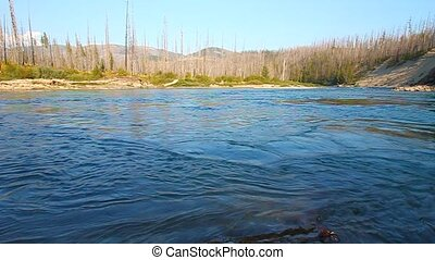 North Fork Flathead River Montana - Swirling deep waters of...