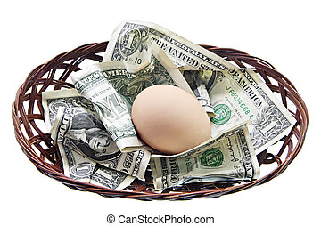 Egg in nest with money