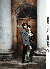 Retro styled fashion portrait of a young couple.