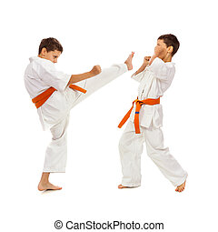 Two boys in white kimono fighting isolated on white...