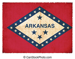 Grunge flag of Arkansas (USA) - Flag of the US state...