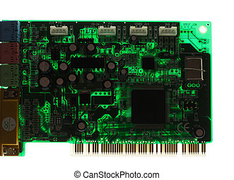 Silhouette of modern printed-circuit board with electronic components isolated on white background