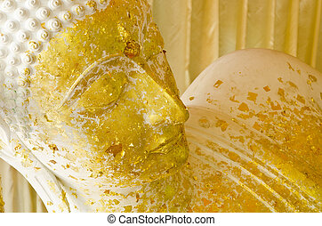 Sleeping Buddha in Thailand - Sleeping white Buddha statue...