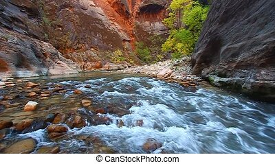 Zion National Park Utah - Smooth cascades of the Virgin...
