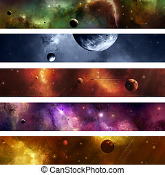 Space Galaxy Banner - Imaginary suns planets moons stars...