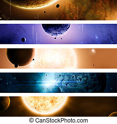 Space and Universe Banners - Imaginary suns planets moons...