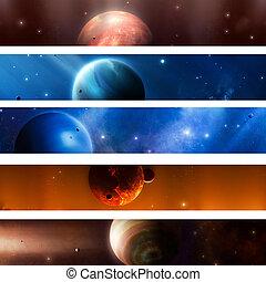 espaço, planeta, bandeiras
