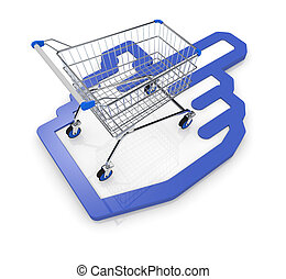 concept of on line shopping - one shopping cart with a hand...