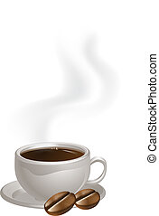 Cup of coffee plate and beans - A steaming cup of coffee and...