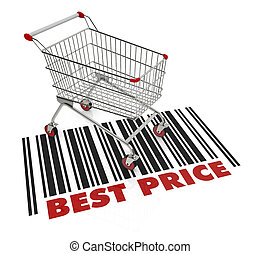 best price - one shopping cart with text: best price 3d...