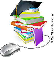 Internet learning concept - Online education, training or...