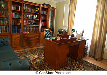 cabinet - Bookcase, table and chair in a cabinet