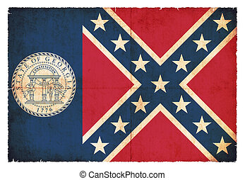 Grunge flag of Georgia (USA) - Flag of the US state Georgia...