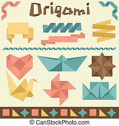 Retro origami set with design elements