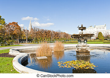 Fountain - Beautiful fountain in the park in Wien Autumn,...