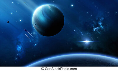 Space planet escape - Imaginary star-crafts escape from the...