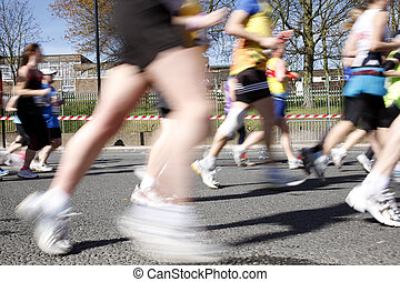 Marathon runners, motion blurred - 2012, London Marathon...