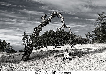 Woman sitting under a tree biased - Nature of Olkhon