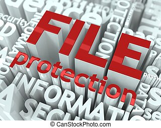 File Protection Concept Inscription of Red Color Located...