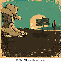 Western illustration with cowboy shoes and desert landscape...