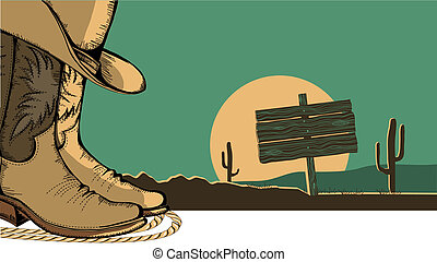 Western illustration with cowboy shoes and desert landscape