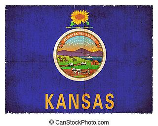 Grunge flag of Kansas (USA)
