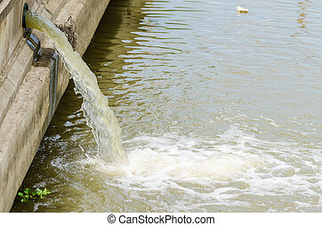 flow out water from the conduit to the river - Photo of flow...