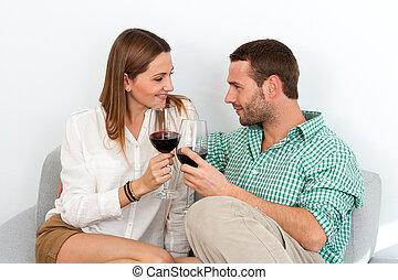 coppia, vetro, godere, casa, rosso, vino