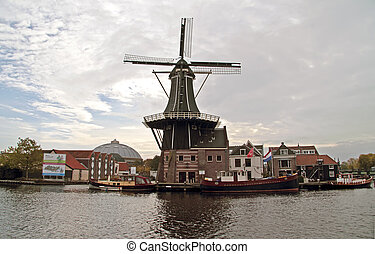 Medieval windmill in Haarlem citycenter in the Netherlands