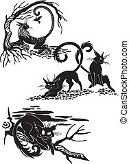 Stylized Cats - elegance and graceful cats. - Stylized Cats...