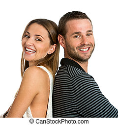 Smiling couple with backs together. - Close up portrait of...