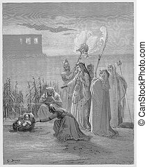 The finding of Moses - Picture from The Holy Scriptures, Old...