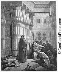 Pharaoh orders Moses to take the Israelites out of Egypt -...